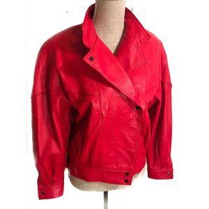 Vintage 80's red leather bomber jacket